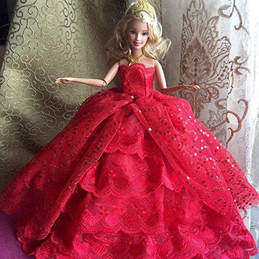 Creation® Deluxe Version vestiti fatti a mano Pizzo Abiti da sposa Cresce l'attrezzatura per Barbie Dolls- Rosso
