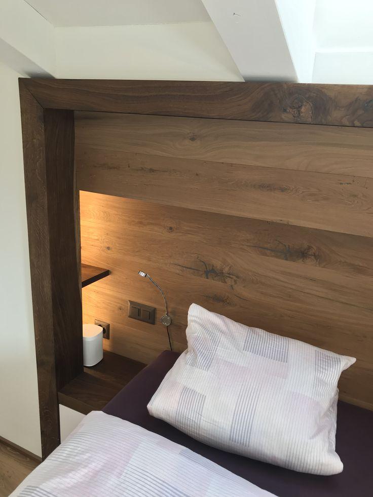 Bett und Nachttisch   Bett kopfteil design, Schlafzimmer design, Bett