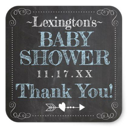 Vintage Chalk Typography Baby Shower Customize Square Sticker - baby gifts child new born gift idea diy cyo special unique design