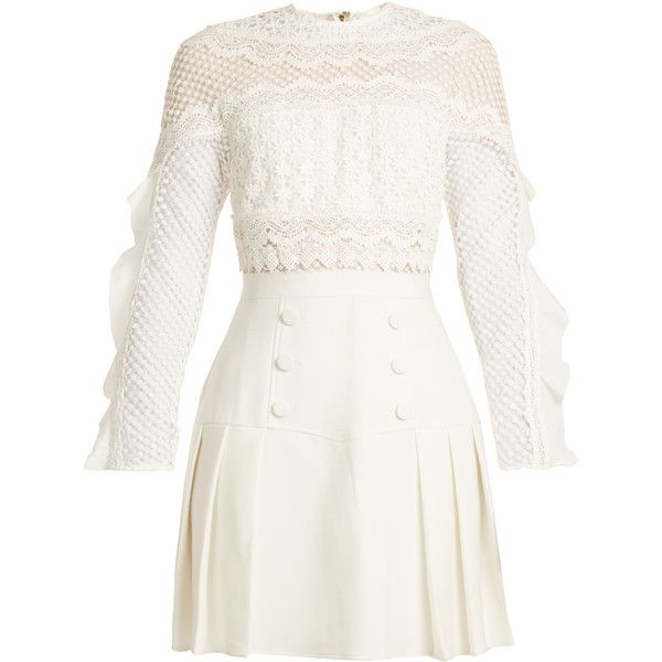 Self-portrait Bellis pleated guipure-lace and crepe dress ($343) ❤ liked on Polyvore featuring dresses, vestido, white, floral lace dress, ruffle sleeve dress, lace cocktail dress, white lace mini skirt and flutter sleeve dress