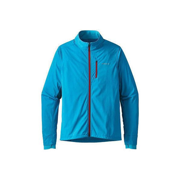 Men's Patagonia Wind Shield Hybrid Soft Shell Jacket (8.485 RUB) ❤ liked on Polyvore featuring men's fashion, men's clothing, men's activewear, men's activewear jackets, blue, windbreakers and mens activewear