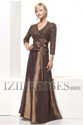 A-Line Princess V-neck Taffeta Mother Of The Bride Dress - IZIDRESSES.COM at IZIDRESSES.com
