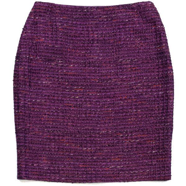 Pre-owned Lafayette 148 Purple Tweed Suit Skirt ($75) ❤ liked on Polyvore featuring skirts, purple, purple skirt, button skirt, tweed skirt and lafayette 148 new york