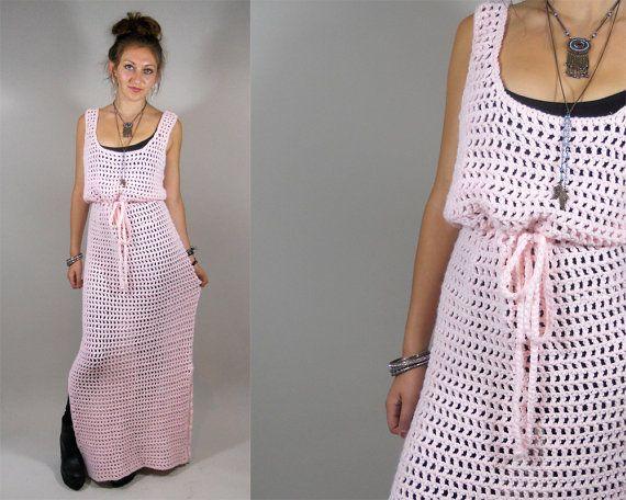 Vintage 1970s Hand Knit Maxi Dress / 70s Boho от TimTomVintage