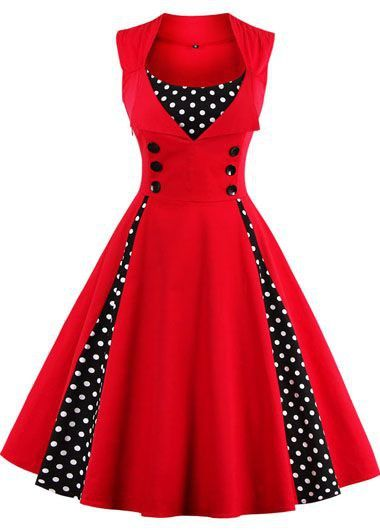 Vintage 50s Style Red Polka Dot Print Sleeveless Swing Party Dress