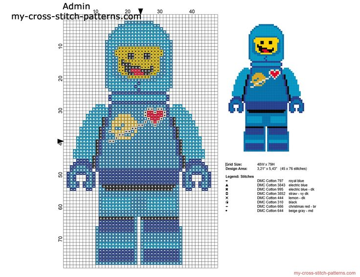 Benny The Lego Movie character free cross stitch pattern