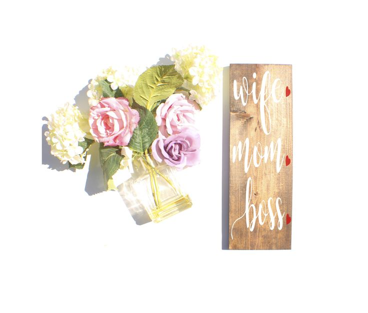 Wife Mom Boss w Hearts-Vertical | Home Decor | Wedding Date Sign | Wooden Sign by StudioRosewood on Etsy