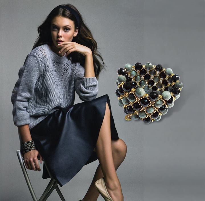 Give a boost to your everyday outfits with a bold #bracelet from the Unique collection of #FW13-14 ! Harper's #Bazaar, Sept issue #oxette #fashion #grey #beauty