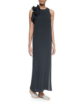 Silk Crepe Gown w/Plisse Ruffle, Volcano by Brunello Cucinelli at Neiman Marcus.