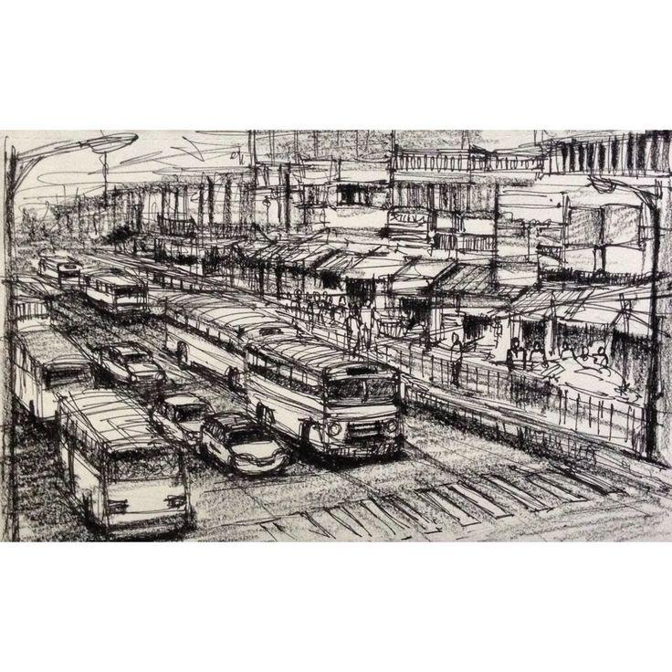 Kolkata street scene charcoal sketch by sushanto