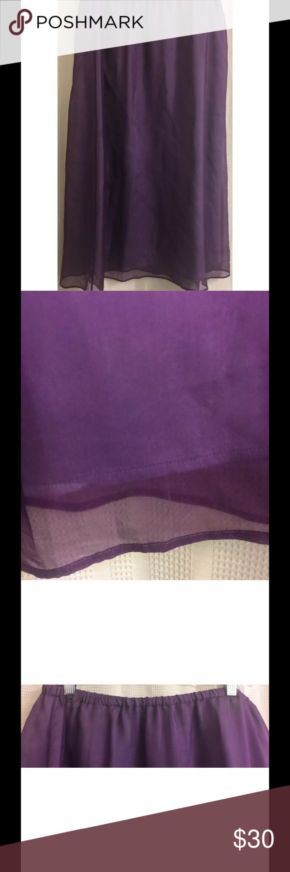 "Eileen Fisher Purple Sheer Long Maxi Skirt Eileen Fisher Long Maxi Skirt Petite L Large Violet Purple Sheer Silk Bohemian  Gorgeous maxi skirt with two layers of material - outer layer is a sheer violet purple, inner layer is a light lavender Elastic waist 100% Silk Excellent, gently used condition - no flaws noted.  Logo tag is only fastened on one side (see pix) Approximate measurements: Waist = 16"" across, elastic waist not stretched Length = 36"" from waist to hem Eileen Fisher Skirts…"