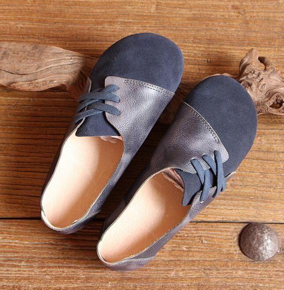 Dunkelblauer Oxford Schuhe, flache Schuhe, Retro Lederschuhe