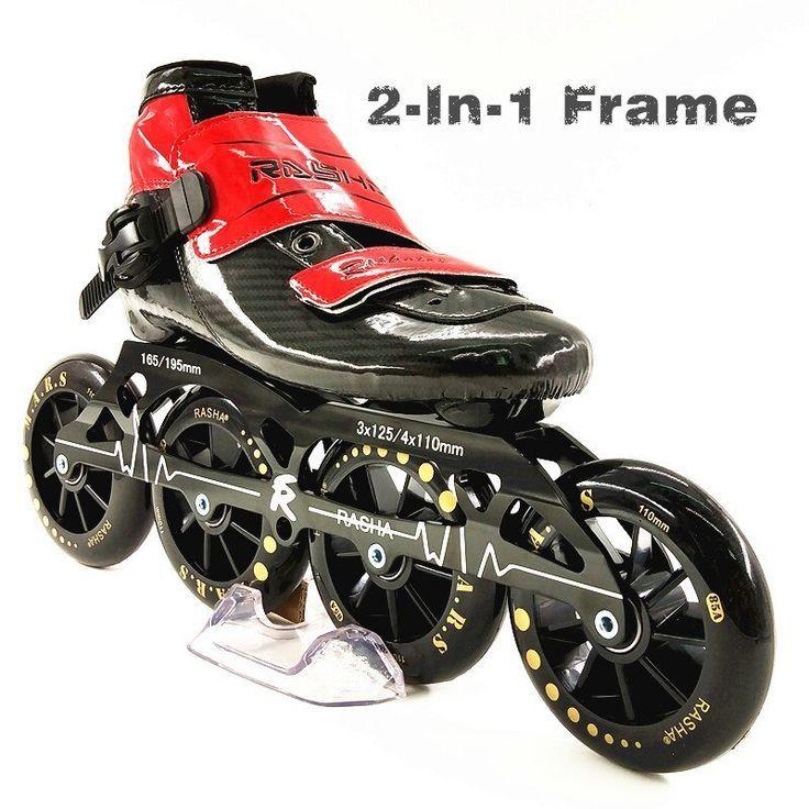 Rasha 3 Or 4 Wheels Skating Shoes Speed Black Roller Racing Skates