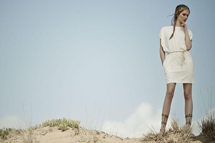 white mini dress with rope belt