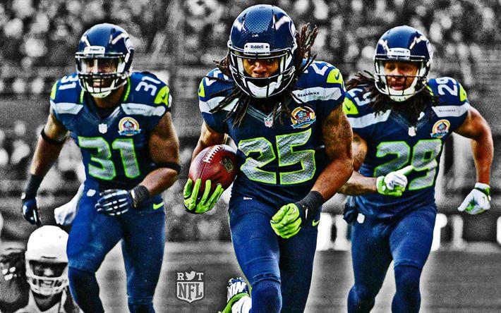 Download wallpapers Kam Chancellor, Earl Thomas, Richard Sherman, NFL, HDR, Seattle Seahawks