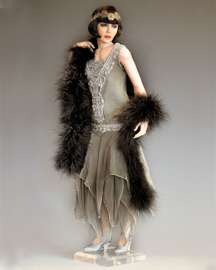 Art doll. Figurative art doll artist Diane Keeler did a flapper series. If you get to see details of her work, you'll then realize just how far her mastery goes.