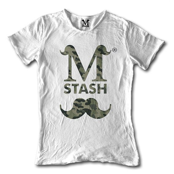 M01-15A // LOGO CAMO // round neck tee flaming fabric // 100% cotton made in Italy // #mstash #tshirt #mustache