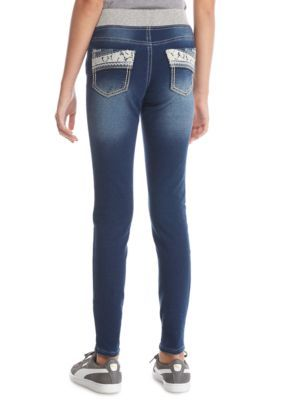 Imperial Star Girls' Lace Pocket Denim Stretch Pants Girls 7-16