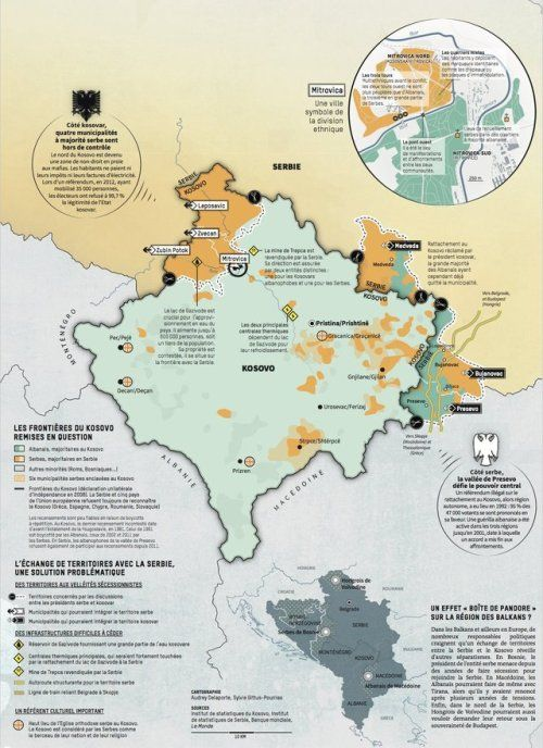 Border disputes between Kosovo and Serbia. French language map by Le ...