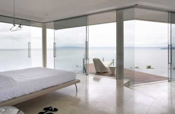 Bedroom with balcony overwater