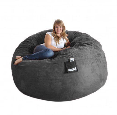 6 Ft Round Charcoal Grey Huge Foam Beanbag Chair SLACKER Sack Microsuede Sac Love Microfiber XL