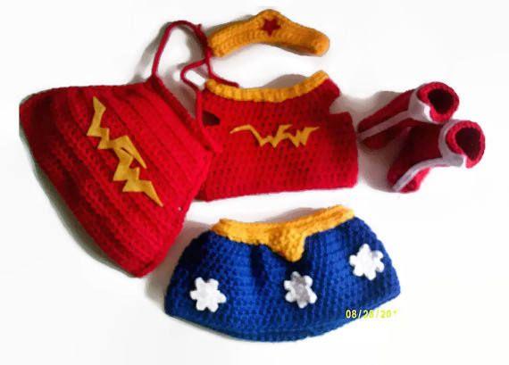 Baby Girl Costume  Crochet Super Hero  Handmade Costume