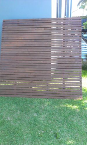 Timber Slat Screen Hardwood Privacy Factory Stain 1800 MM X 1500 MM | eBay