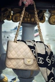 Chanel bag with scarf!  #love