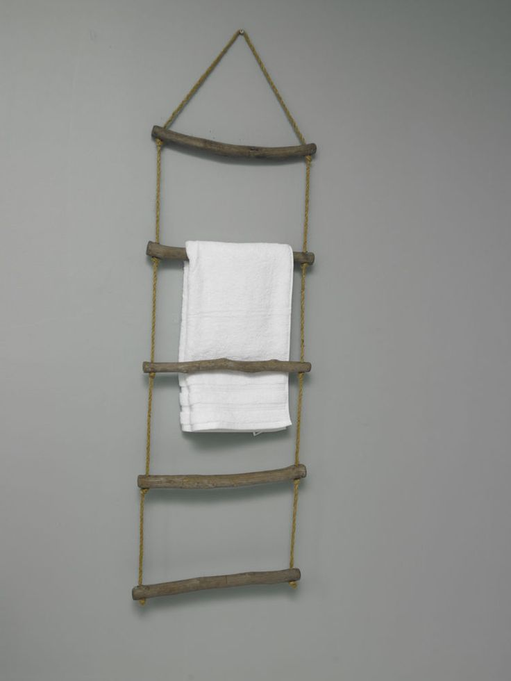 Wooden vintage rope ladder towel rail shabby chic bathroom toilet accessories