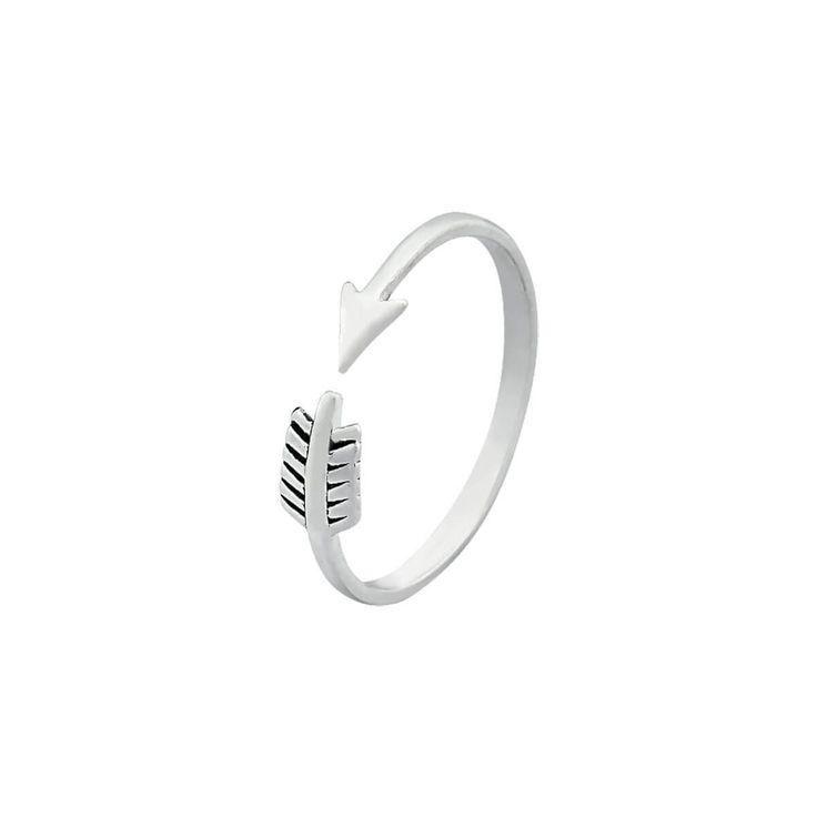 Anel flecha com aro regulável prata 925 Dimensões aproximadas:Altura: 0,5 cmEspessura: 0,1 cm