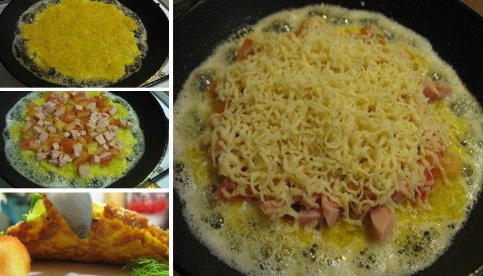 Levná varianta snídaně. Chlebíček namočený do vajíčka se šunkou, sýrem a rajčetem.