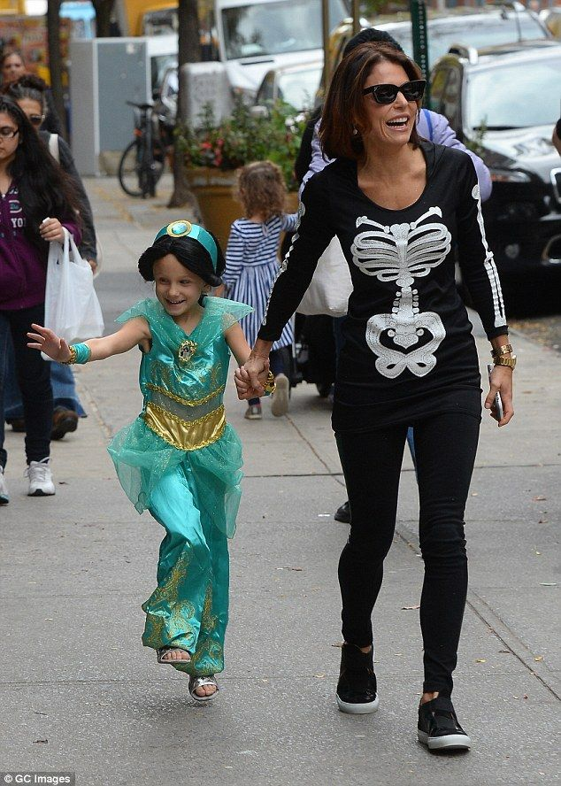 Skipping for joy! Bethenny Frankel was spotted wearing a skeleton costume as she took her five-year-old daughter Bryn to a Halloween party in New York City on Thursday