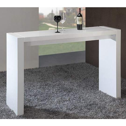 Velia High-Gloss White Contemporary Bar Table-60-Inch-W