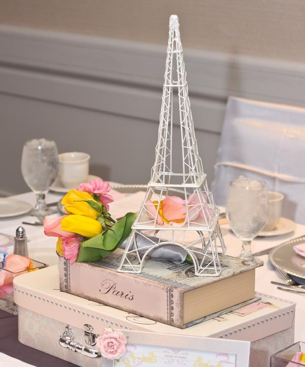 I love the Paris theme.  Color Palette: Pink, Yellow & Grey #baby #shower #party