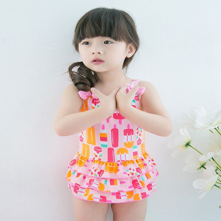 2016 Baby Toddler Tutu Swimsuit Baby Girl Swimwear Children new style novelty Printed One Piece Beach Suit Swimming