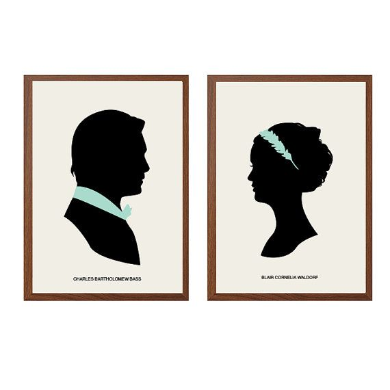 GOSSIP GIRL | Charles and Blair Poster : Modern Illustration Gossip Girl TV Series Retro Art Wall Decor