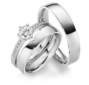 Duo dámské - snubní a zásnubní prsten, zásnubní prsten pro pána