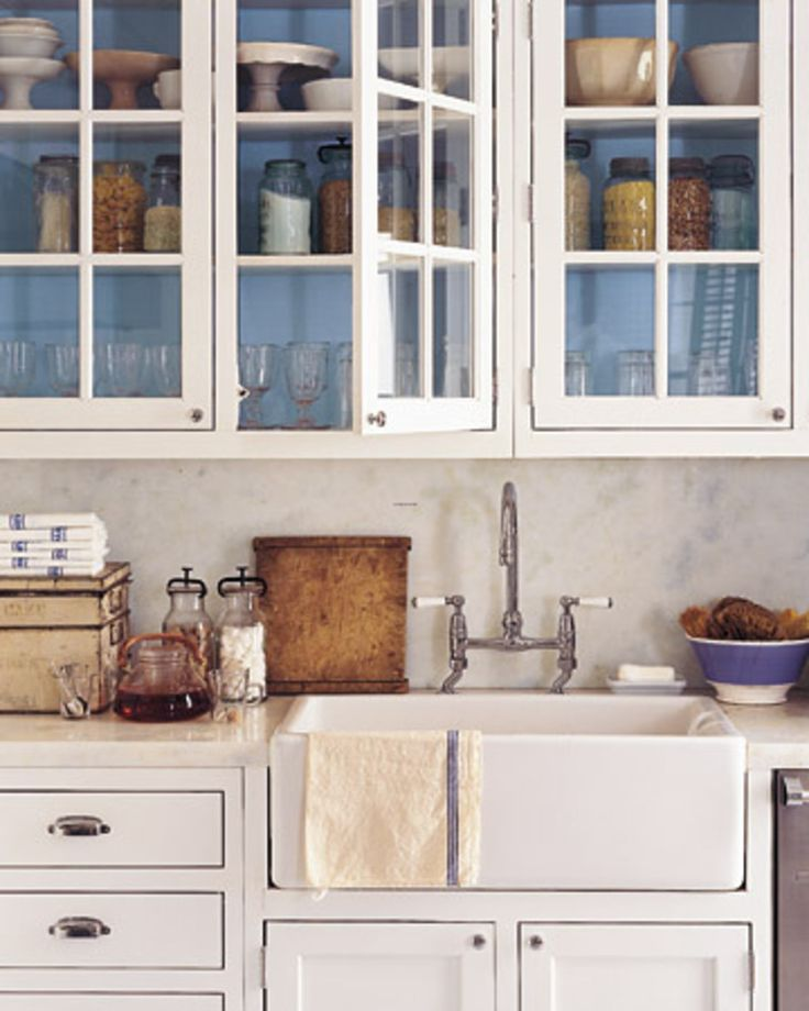 white glass front kitchen cabinets inside of cabinets painted blue farm sink home small. Black Bedroom Furniture Sets. Home Design Ideas