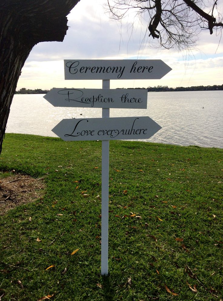 Ceremony here - Reception there - Love everywhere - white directional arrow - for hire @ www.celebrationblackboards.com.au