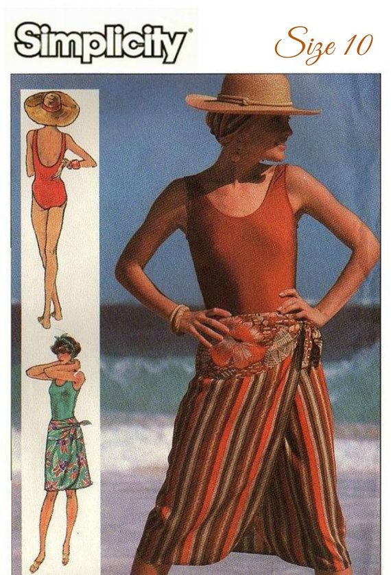 UNCUT 80s VINTAGE Swimsut and Beach Wrap Sewing by KeepsakesStudio