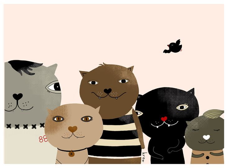 Cat print, cats, cat illustration from Krize Smiling Shop by DaWanda.com