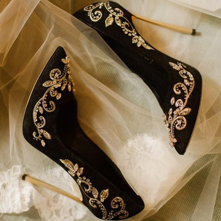 Black and Gold Wedding Heels Embroidered Rhinestone Pumps US Size 3-15