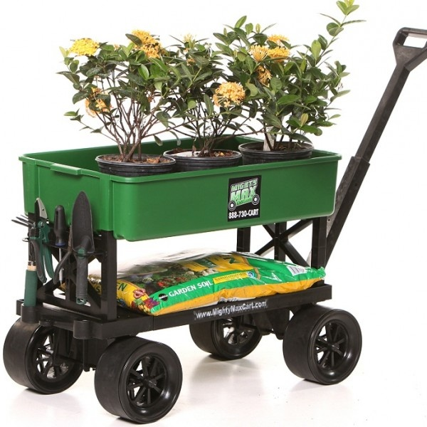 All Purpose Cart For Lawn & Garden - Great Cart For Gardening Work And Recreation.  This cart can transport and support any load you have around the garden, yard, house, warehouse or outdoors, when going boating, fishing, sports events, at the beach and picnics. When the job is done, the Mighty Max cart compacts to hang on a wall or easily store in a boat locker or small car trunk.   Buy Now @ www.a2zsell.com