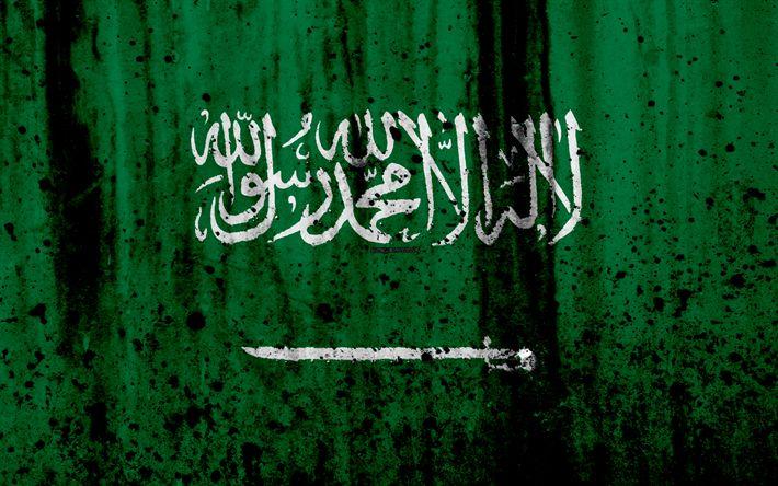 Download wallpapers Saudi flag, 4k, grunge, flag of Saudi Arabia, Asia, Saudi Arabia, national symbols, Saudi Arabia national flag