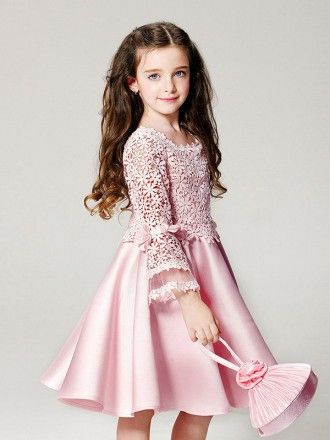 f98e622a780 Simple Pink Satin Short Pageant Dress with Flare Sleeve Lace Jacket ...