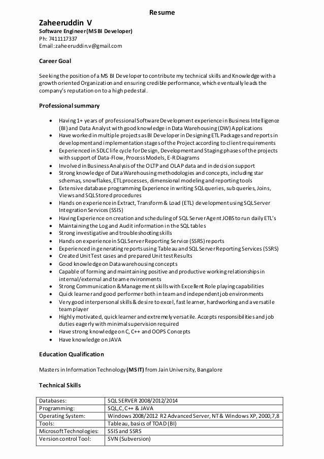 Business Intelligence Developer Resume Lovely Zaheer S Resume In 2020 Business Intelligence Resume Job Resume Samples