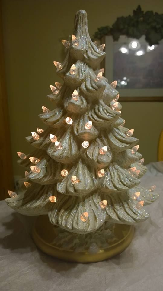 white glitter and white lights made at ruths ceramics in - Clinton Pa Christmas Lights