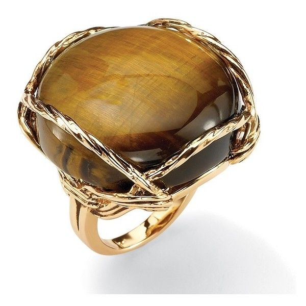 Cabochon-Shaped Tiger's Eye 14k Gold-Plated Ring ($42) ❤ liked on Polyvore featuring jewelry, rings, brown, jewelry & watches, unisex rings, cabochon ring, 14 karat gold jewelry, brown jewelry and 14 karat gold ring