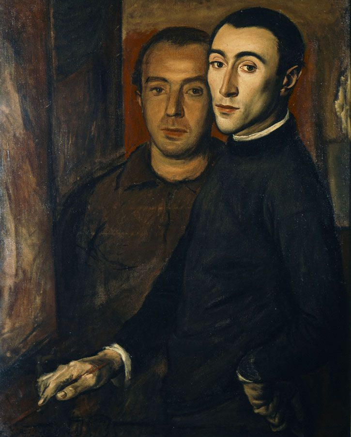 Yannis Moralis - The artist and Nikos Nikolalou, 1937, oil on canvas, 91 x 72 cm.    http://dp.iset.gr/en/artist/view.html?id=1694&tab=artworks