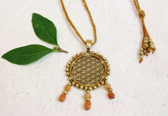 Flower of Life necklace, Sacred Geometry pendant, bohemian jewellery, macrame, brass beads, aventurine gemstone neckace